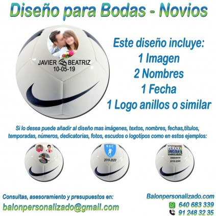 Balón Personalizado Con imágenes, nombres fecha anillos de Fútbol modelo nike pitch Regalo bodas, dedicatoria