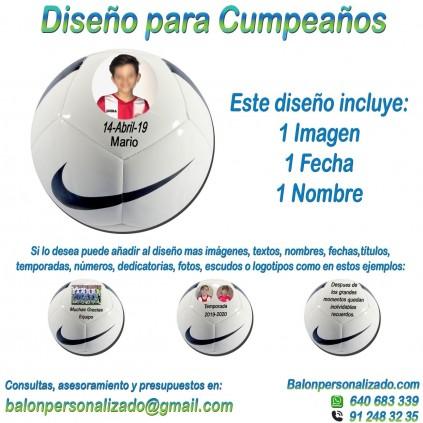 Balón Personalizado con imágenes y nombre fecha de Fútbol modelo nike pitch Regalo celebrar Cumpleaños