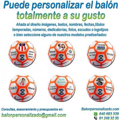 Balón Fútbol Sala Personalizado Total añadir nombres, números, banderas, escudos, imágenes, fotos, dedicatorias