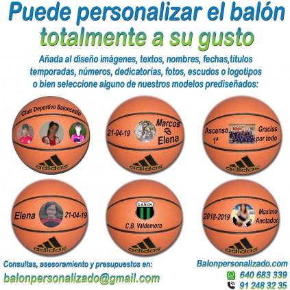Balón Baloncesto Personalizado añadir nombres, números, banderas, escudos, imágenes, fotos, dedicatorias